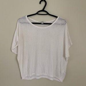 🌵4/$20 F21 White Short Sleeve Mesh Stripe Top